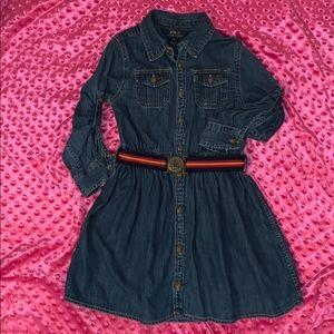 Girls Polo Ralph Lauren Belted Denim Dress Size 6